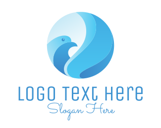 Peaceful - Blue Bird Circle logo design