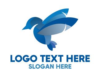 Sparrow - Blue Abstract Bird logo design
