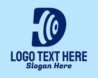 Weightlifter - Blue Dumbbell Letter D  logo design