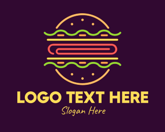 Food Vlogger - Neon Burger logo design