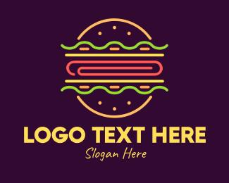 Neon Lights - Neon Burger logo design