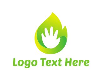 Eco Energy - Green Hand logo design
