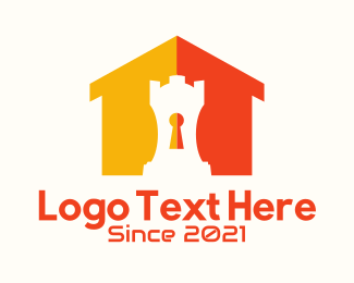 Lock And Key - Castle Home Security  logo design