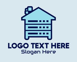 Online Server - Colorful Data House  logo design