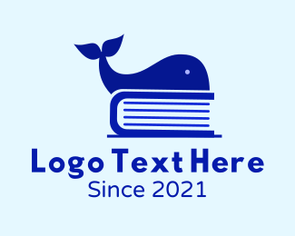 Book Club - Blue Whale Book logo design