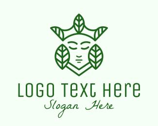 Crown - Minimalist Leaf Queen logo design