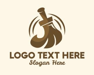 Sanitize - Brown Broom  logo design