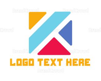 Blocks - Colorful K  logo design