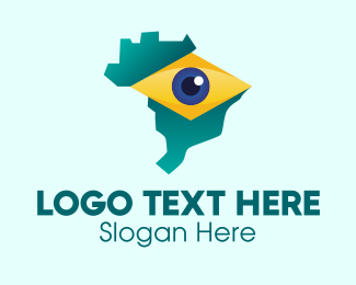 Gps Tracker - Brazil Eye Map  logo design