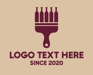 Maroon - Wine Paint & Drink logo design