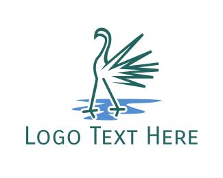 Flamingo - Green Flamingo logo design