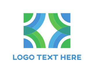 Blue And Green - Green & Blue Circles logo design