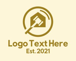 Real Estate - Gold Gavel Courthouse  logo design