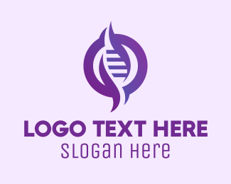 Dna Chromosome - Purple DNA Strand logo design