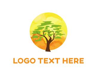 Savanna - Tree & Sunset  logo design