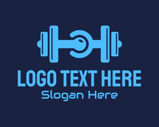 Dumbbell - Gym Dumbbell Tech Circuit logo design