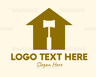 Demolish - Red House Hammer logo design