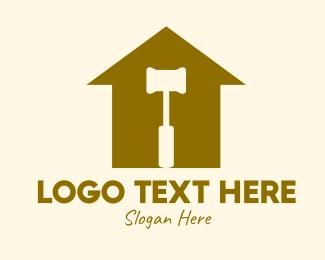 Masonry - Red House Hammer logo design