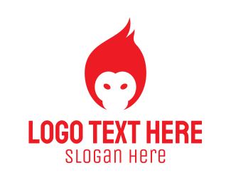 Flaming - Red Flame Monkey logo design