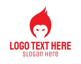 Ape - Flame Monkey logo design