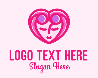 Beauty - Pink Beautiful Woman Heart logo design