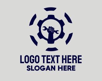 Engine Parts - Golden Wrench Repair logo design