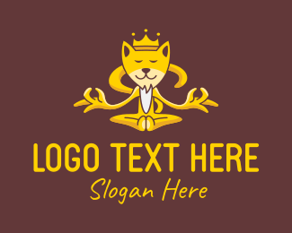 Coyote - Meditating Yellow Fox King logo design