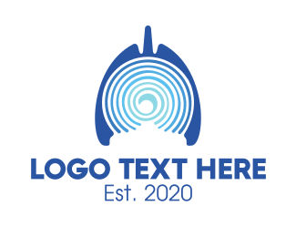Lung Cancer - Blue Abstract Respiratory Lungs logo design