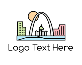 Arch - Geometric City logo design