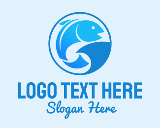 Blue Fish - Blue Fish Shark logo design