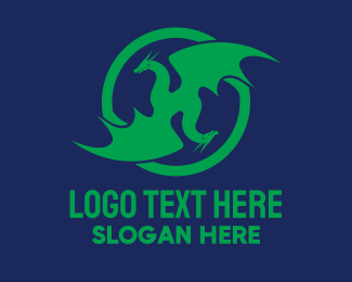 Esports - Two Headed Dragon Emblem  logo design