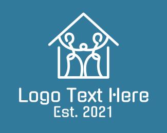 Real Estate - Minimalist Family House logo design