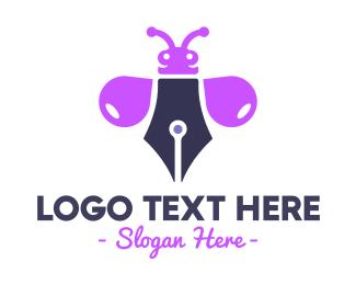 Poetry - Purple Ink Bug logo design