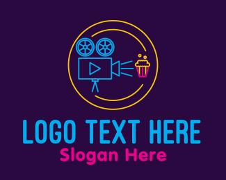 Popcorn - Neon Film Showing logo design