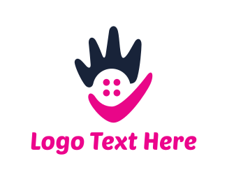 Volunteer - Abstract Pink Hand logo design