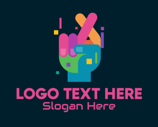 Inclusivity - Colorful Cross Fingers Hand  logo design