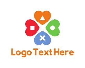 Four Leaf Clover - Love Game  logo design