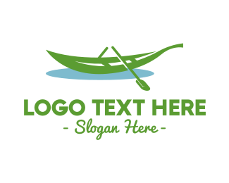 Row - Leafy Rowboat Boat logo design