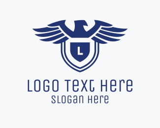 Air Courier - Eagle Shield Lettermark logo design