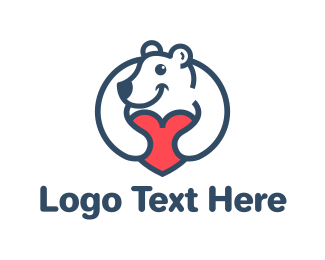 Stuffed Animal - Bear Heart logo design