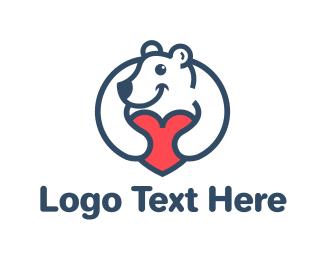 Polar Bear - Bear Heart logo design