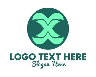 Fountain - Green Curvy Letter X logo design