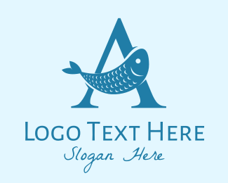 Sardine - Blue Fish Letter A logo design