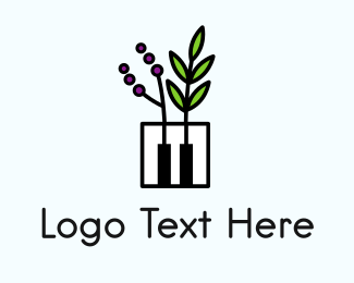 Harpsichord - Piano Garden Music School logo design