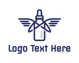 Milk - Baby Bottle Wings logo design