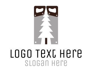 Cut - Wood & Saw logo design