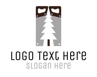 Cut - Wood Saw logo design
