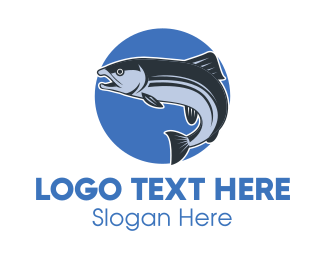 Salmon - Blue Fish Circle logo design