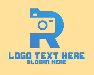 Camera Shutter - Blue Camera Letter R  logo design