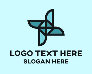 Windmill - Origami Blue Mill logo design
